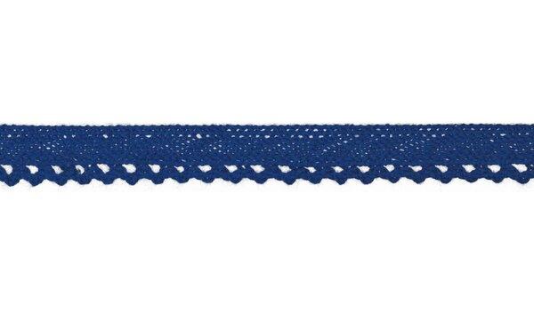 Baumwolle Spitzenborte Häkelborte uni kobaldblau 10 mm breit Klöppelspitze