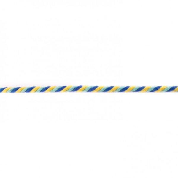 Gedrehte Baumwoll-Kordel rund dreifarbig gelb / hellblau / kobald blau 6 mm