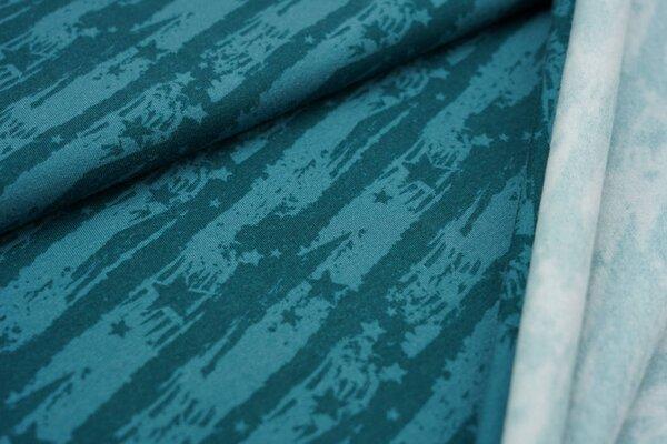 Kuscheliger Baumwoll-Sweat Sterne auf abstrakten Streifen dunkel petrol / petrol