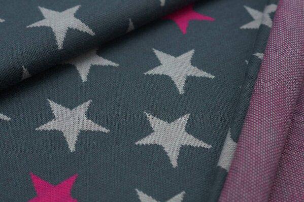 Jacquard-Sweat Ben hellgraue und amarant pinke Sterne auf dunkelgrau