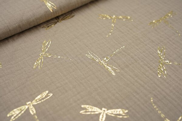 Musselin Stoff Double Gauze kiesel beige mit goldenen Libellen
