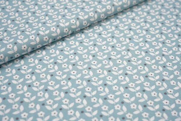 Baumwollstoff Baumwolle Blumen und Punkte altmint / weiß
