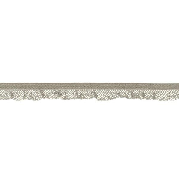 Elastische Spitze Zierband Gummiband mit Rüschen uni sand beige 17 mm breit