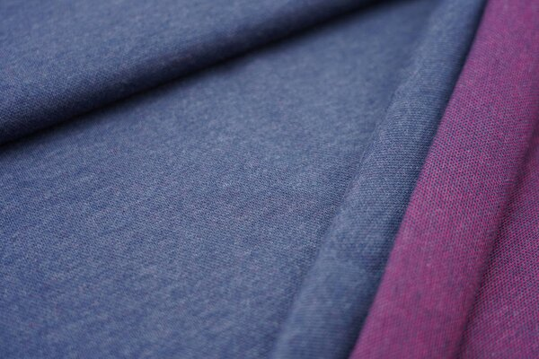 Jacquard-Sweat Mia navy blau Melange Uni mit amarant pink und navy blau Rückseite