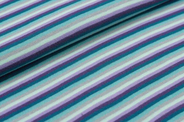 Ringelbündchen bunte Streifen petrol / lila / hell lila / grau / eisblau