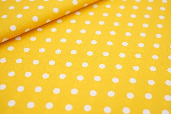 Baumwollstoff Baumwolle senf gelb mit großen weißen Punkten