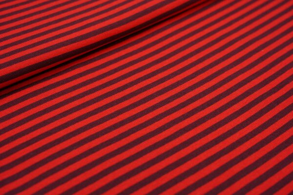 Ringelbündchen glatt Streifen bordeaux rot / rot