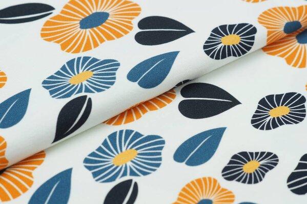 Baumwoll-Jersey Digitaldruck Blumen / Blätter senf / blau auf off white