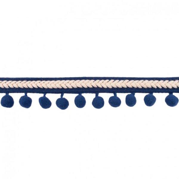 Bommelborte Fischgrät dunkelblau / beige 20 mm breit Pompons 10 mm