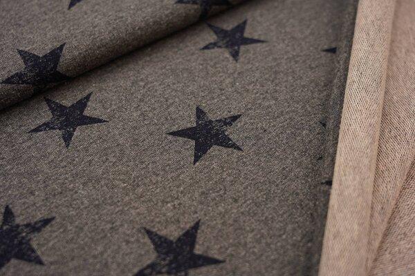 Baumwoll-Sweat dunkelblaue Sterne auf grau meliert maritim