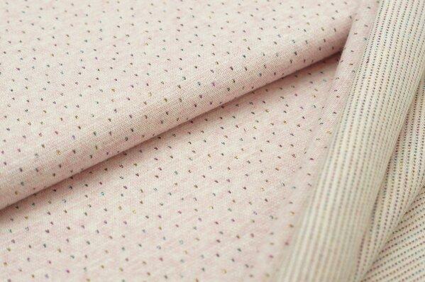 Jacquard-Sweat Mia pastell rosa Melange kleine bunte Pünktchen Lurex Glitzer