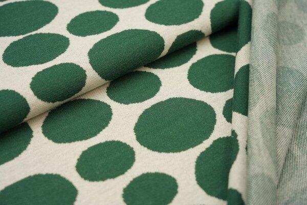 Jacquard-Jersey große Kreise Punkte Tupfen grün auf off white