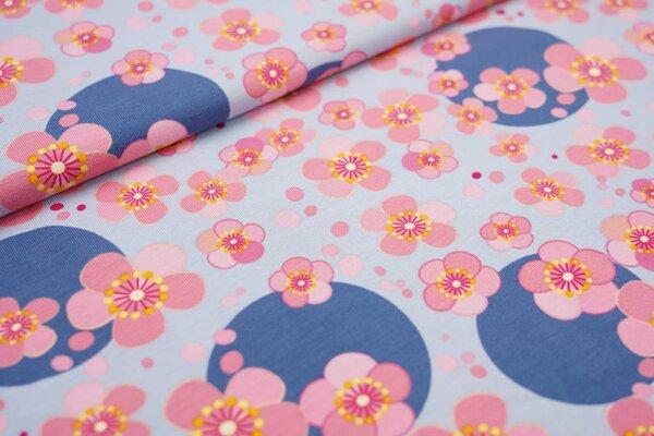 Baumwoll-Jersey Blumen Blüten und Kreise Punkte hellblau / rosa / taupe blau