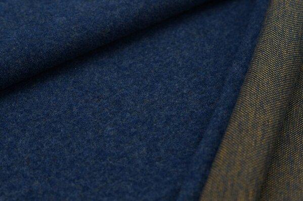 Kuschel Jacquard-Sweat Moritz Uni navy blau Melange mit senf