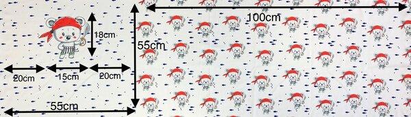 Panel Baumwoll-Jersey Piraten Teddybär Fische auf off white Rapport Digitaldruck