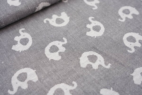 Baumwoll Jacquard doubleface Elefanten grau / weiß