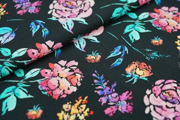 Baumwoll-Jersey Digitaldruck bunte Aquarell Blumen auf schwarz