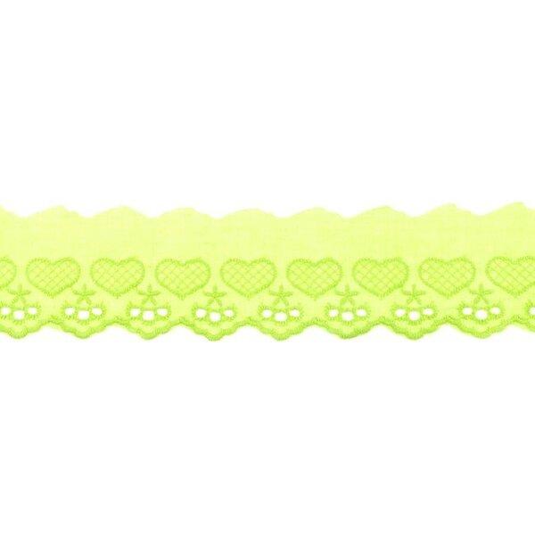 Baumwoll Spitze mit Herzen und Sternen limettengrün Spitzenbordüre Borte
