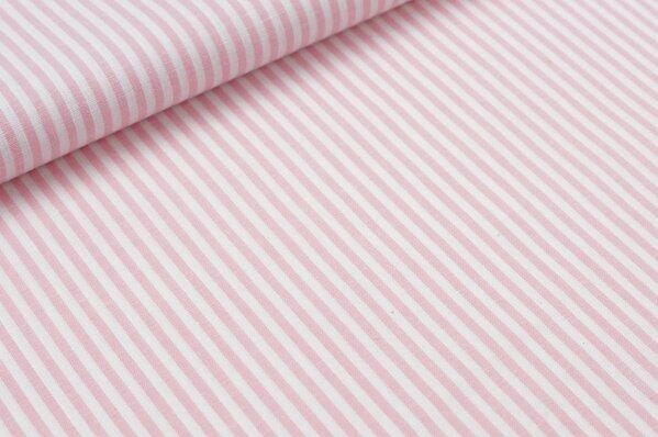 Baumwollstoff Baumwolle Streifen babyrosa / weiß meliert
