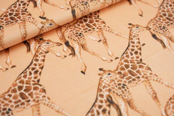 Samtiger Velours Dekostoff Giraffen auf orangegelb