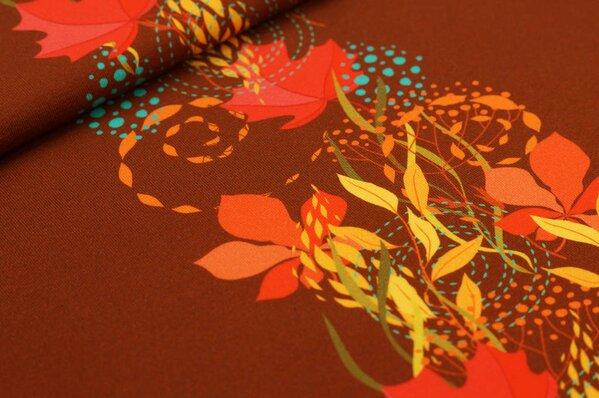 Baumwoll-Jersey Digitaldruck Herbst Blätter Muster Rapport auf rotbraun