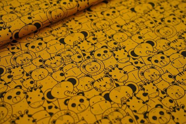 Baumwoll-Jersey Tiere auf senf ocker Pandabär Löwe Elefant Giraffe Hund Tiger
