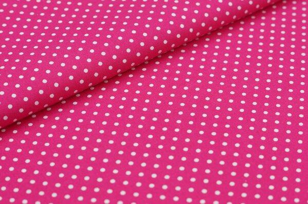 Baumwollstoff Baumwolle kleine Punkte pink / weiß
