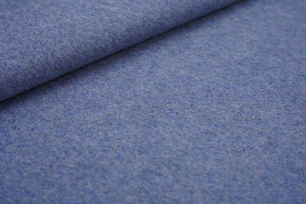 Kuscheliger dicker uni Baumwoll-Fleece Stoff hell jeansblau melange