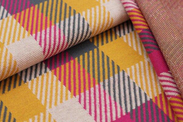 Jacquard-Sweat Ben Karos amarant pink / dunkelgrau / senf / off white