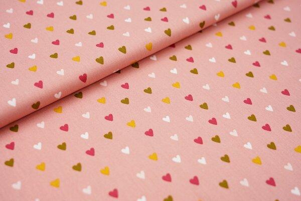 Baumwolle bunte Herzen auf perlrosa