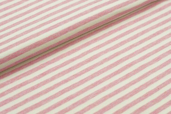 XXL Jersey Maya Streifen Ringel schmal pastell pink melange / off white