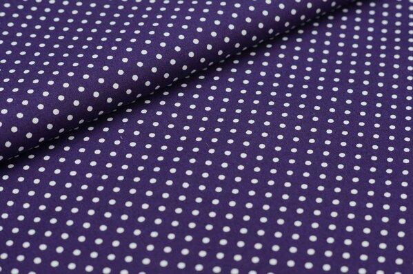 Baumwollstoff Baumwolle kleine Punkte lila / weiß