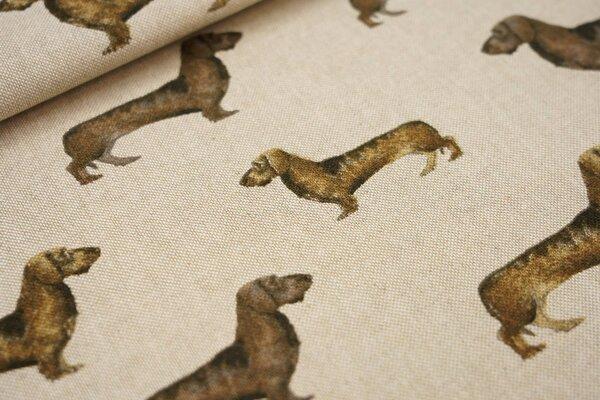 Canvas-Stoff Dekostoff in Leinenoptik Hunde Dackel auf natur