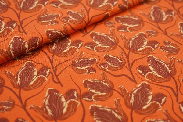 Baumwoll-Jersey große Tulpen Blumen orange / rotbraun