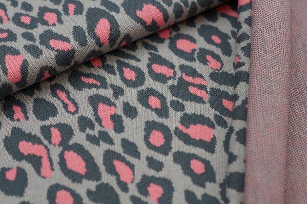 Jacquard-Sweat Ben mit Leoparden Design dunkelgrau / hellgrau / koralle