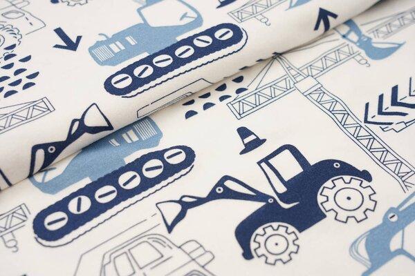 Interlock Jersey große Baustellenfahrzeuge Kran Bagger Lkw creme weiß / blau