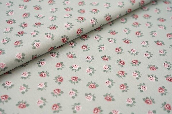 Baumwolle Rosen auf altgrün Blumen