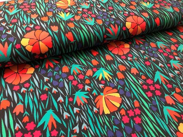 XXL Baumwoll-Sweat mit Digitaldruck Blumenwiese auf dunkelblau mit türkis