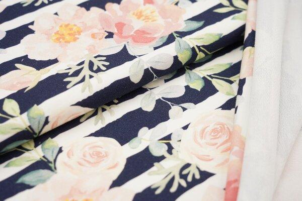 Traumbeere Baumwoll-Sweat Digitaldruck Aquarell Rosen und Streifen dunkelblau / off white