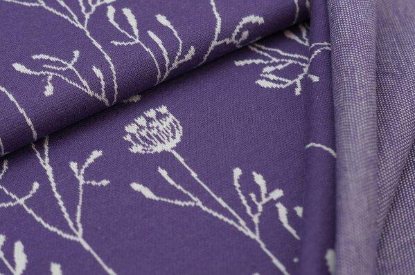 Jacquard-Sweat Ben lange off white Blumen auf lila