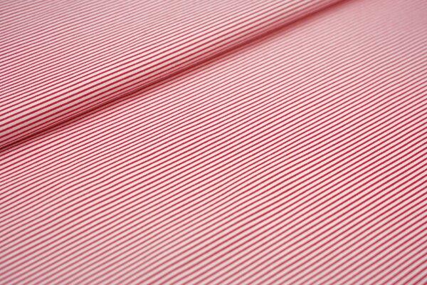 Interlock Jersey schmale Streifen weiß / rot maritim