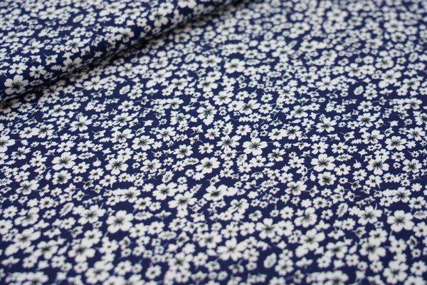 Baumwoll-Jersey weiße Blumen Veilchen auf dunkelblau