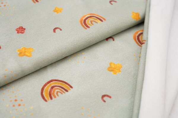 Baumwoll-Sweat Digitaldruck Regenbogen Blumen Punkte auf altmint