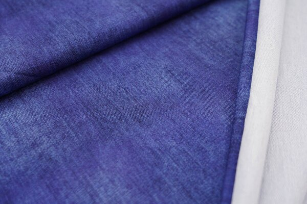 Baumwoll-Sweat Digitaldruck uni dunkelblau in Jeansoptik
