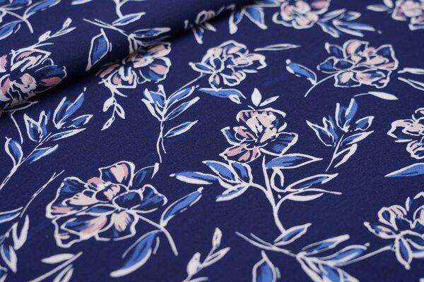 Sommer T-Shirt-Stoff / leichter Jersey Blumen dunkelblau / weiß / rosa