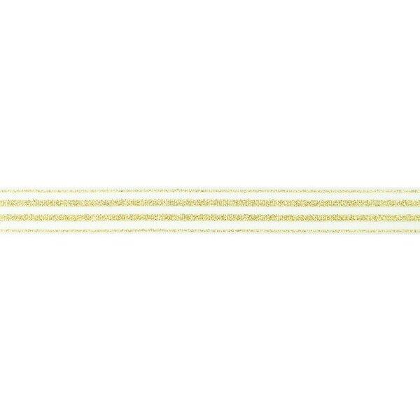 Schmales Gummiband mit 4 goldenen Glitzer Streifen auf off white 20 mm