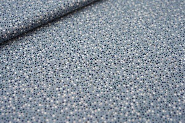 Baumwoll-Jersey kleine unregelmäßige Punkte blaugrau / dunkelblau / weiß / grün