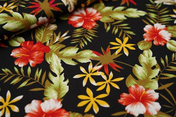 Baumwollstoff Hibiskus Blumen und Blätter auf schwarz
