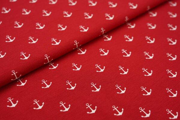 Baumwoll-Jersey weiße Anker auf rot maritim