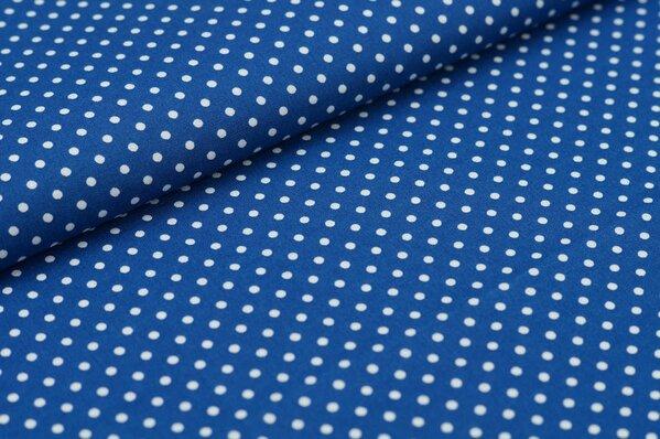 Baumwollstoff Baumwolle kleine Punkte blau / weiß